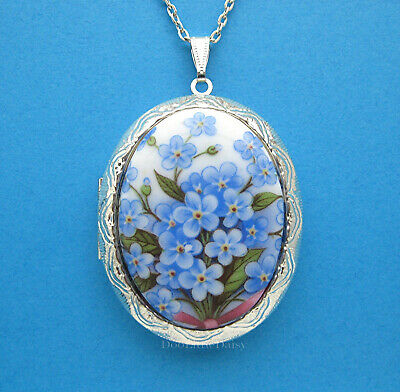 Brooch Porcelain White Daisy /& Blue Forget Me Knots Not Flowers Cameo Pendant Necklace blue and white antique silver Cameo Pendant