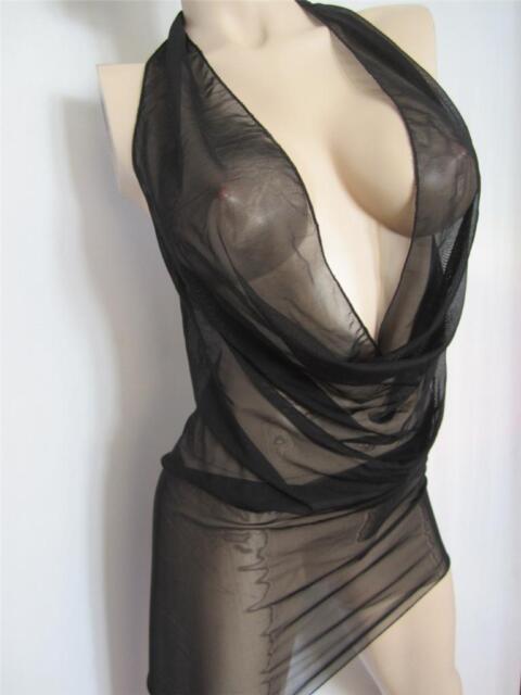 Exotic Dress Drape Cowl Clubwear SeXy Stripper Dancer  M Sheer Black Stretch