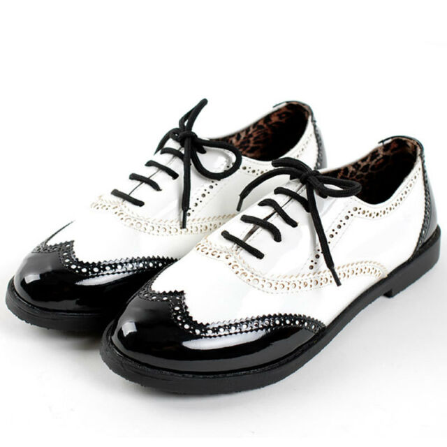 Womens Patent Leather Classic Lace Ups Dress Oxfords Low Flats Heels Shoes Size