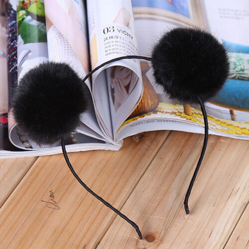 Haarband Pom Warme Pelz Kugel Pelzige Ohren Stirnband Haarreifen Party Hochzeit//