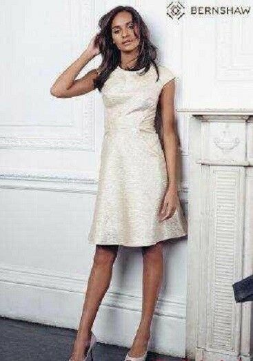 New BERNSHAW Reiko gold Metallic Fit & Flare Dress Sz rrp