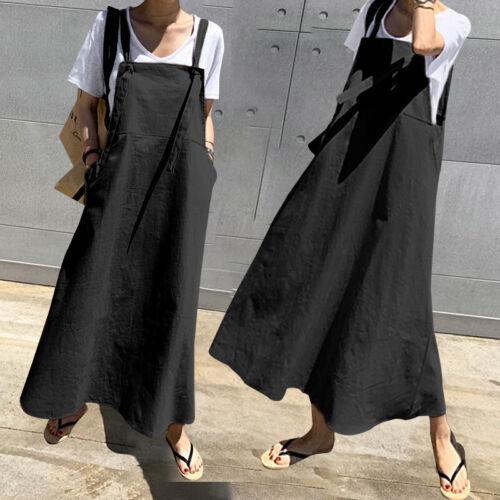 Women Sleeveless Bib Pinafore Dungarees Loose Cotton Straps Maxi Dress Size 8-26
