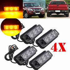 4X 3 LED Car Truck Emergency Beacon Light Bar Hazard Strobe Warning Amber 12V