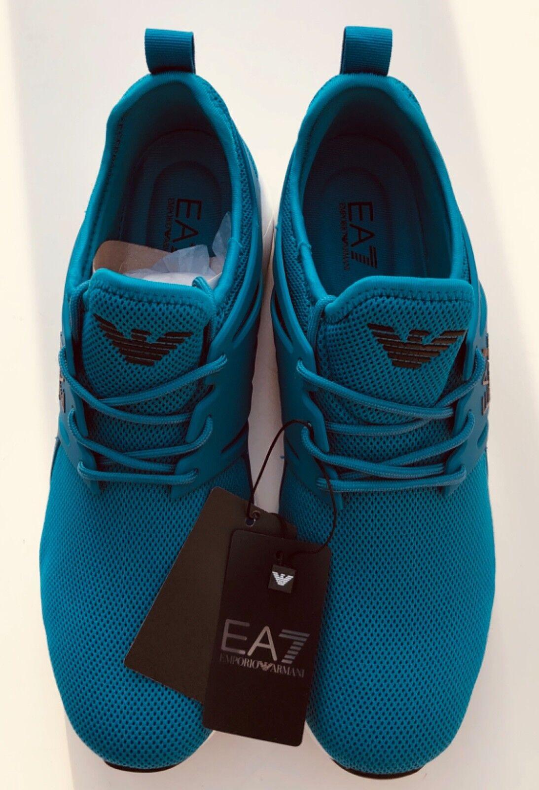 EMPORIO ARMANI EA7 turchese Scarpe Scarpe Scarpe da ginnastica Scarpe Da Ginnastica Grande Logo NUOVO CON ETICHETTA BOX 4b1636