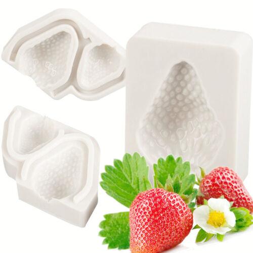 3Pcs Strawberry Mold Silicone Cake Molds Chocolate Sugarcraft Kitchen Bakeware