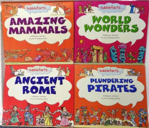 4 Bubblefacts Children Book Lot! Paperback Fun Facts and Cartoons New