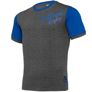 Schottland SRU macron Herren Freizeit Rugby Fan T-Shirt Oberteil grau blau neu