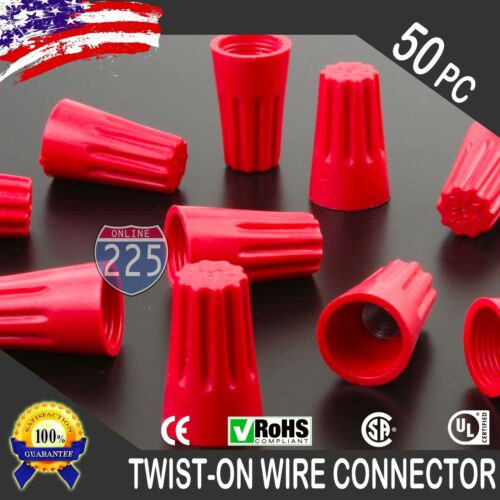 Red Twist-On Wire GARD Connector Conical nuts 18-10 Gauge Barrel Screw US 50