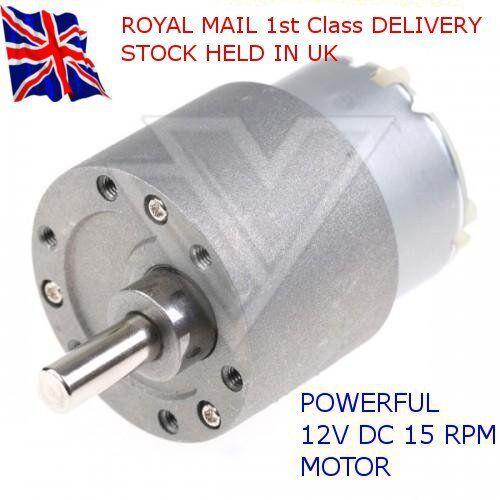 12V DC-alto esfuerzo de torsión alta potencia-Reversible Motor Eléctrico 15 Rpm /& Caja De Cambio