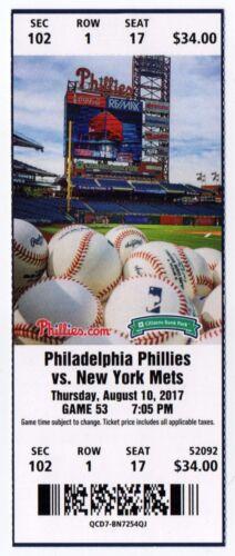 Rhys Hoskins 8//10//2017 Phillies Rookie Debut UNUSED MINT Ticket Stub Full