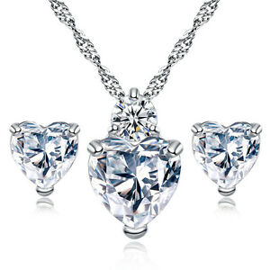 925-Sterling-Silver-heart-crystal-clear-stunning-bridal-jewelry-set-wedding