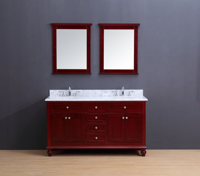 72 Double Sink Bathroom Vanity Set White Carrera Marble Charcoal Gray Neva For Sale Online Ebay