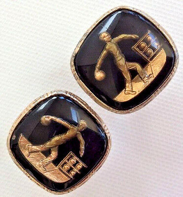 Cufflinks Bowler Bowling Alley Action Stance 1940s Gold Foil Embedded Lucite Vtg