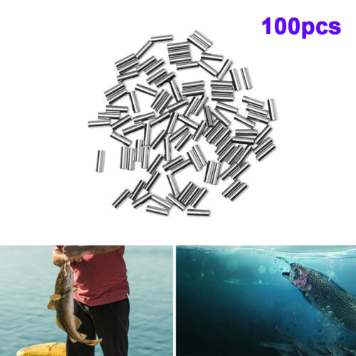 100pcs//set Round Copper Fishing Tube Fishing Wire Pipe Crimp Sleeves Connector