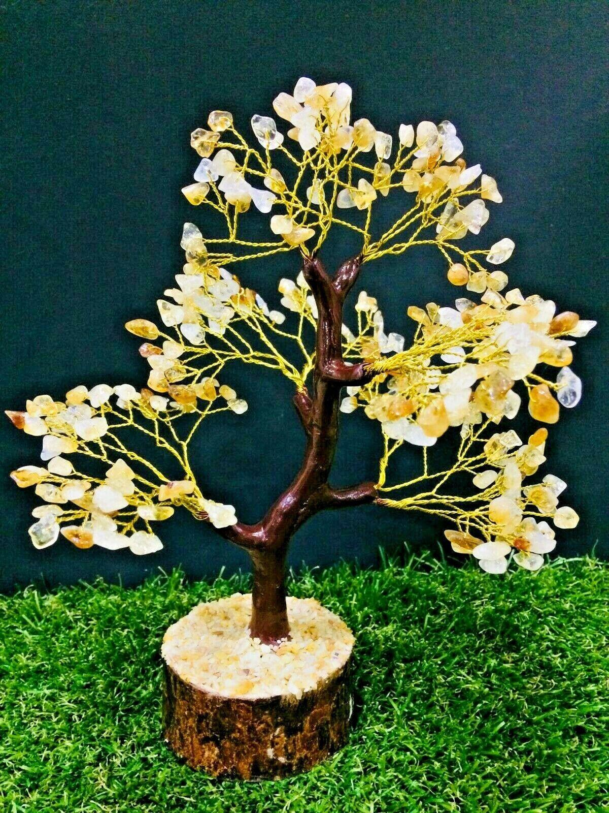 Citrine Silver Wire Reiki Healing Stone Feng Shui Bonsai Money Tree