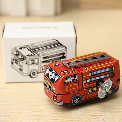 Vintage 80's Retro Firefighter Fire Truck Clockwork Wind Up Collectable Tin Toys