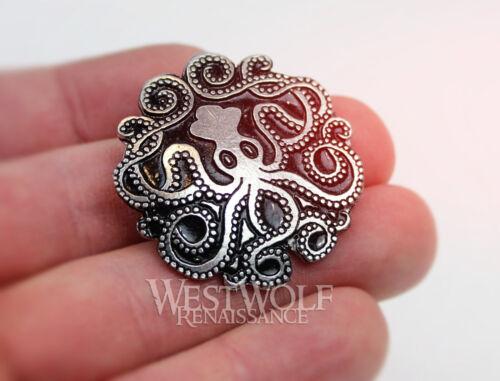 Viking//Squid//Pirate//Medieval//Sea//Silver//Cloak Celtic Kraken Octopus Brooch//Pin