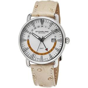 STUHRLING MEN'S CUVETTE 42MM OSTRICH LEATHER BAND SWISS QUARTZ WATCH 791.01