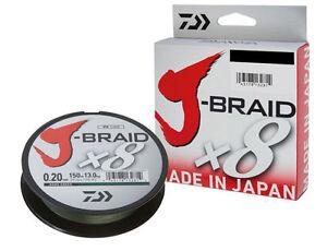 Daiwa-J-Braid-X8-300m-Ligne-Tressee-Vert-Fonce-Fabrique-au-Japon