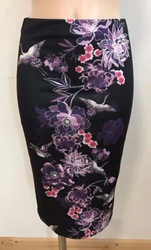 SMART BLACK FLORAL CASUAL PENCIL TUBE WIGGLE STRETCH MIDI SKIRT SIZE 6-18