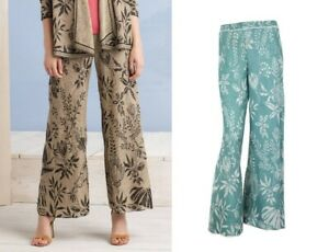 großer Lagerverkauf Modestil detaillierter Blick Details about Ivko Trousers Palazzo-Hose Beige Canvas Linen Pants Green  Brocade 191771