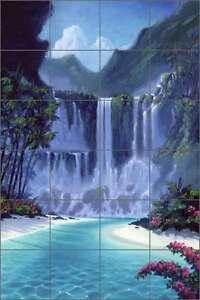 Ceramic-Tile-Mural-Backsplash-Shower-Wall-Novak-Tropical-Waterfall-Art-OB-KN18