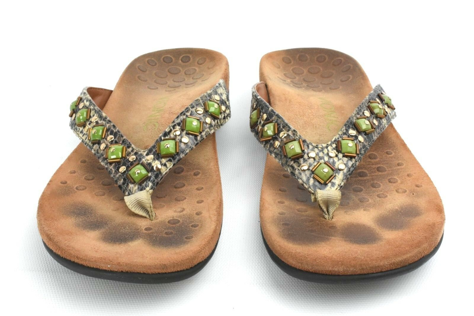Vionic Orthaheel Embellished Thong Sandals FLORIANA NATURAL SNAKE Size 8