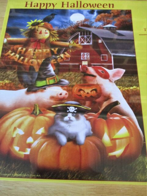 """Suns Out Brand 500 Piece Jigsaw Tom Wood Art PUZZLE""""Happy Halloween"""" New 18""""x24"""""""