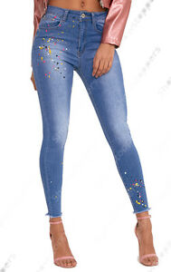 48b320a153d1 Pour Effilochée Ourlet Femmes Peinture Skinny Taille Neuf Haute 6dTHwFwq