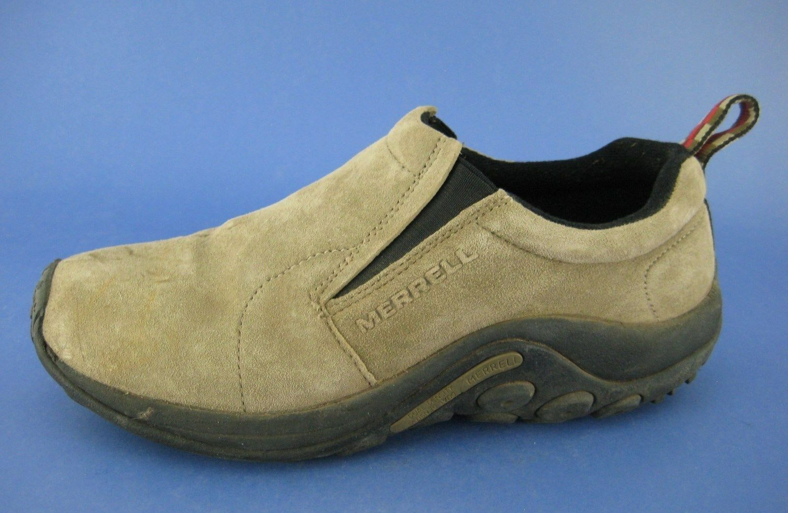 Merrell Jungle Moc shoes Taupe Suede with Rubber Sole Slip On Size 9.5