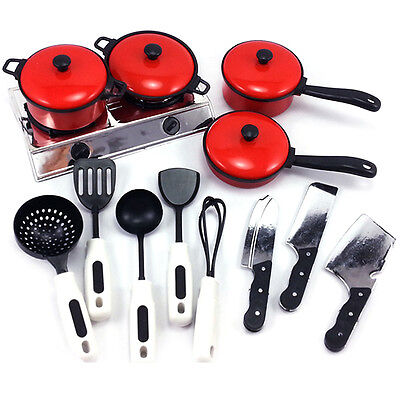 13PCS Kid Play House Kitchen Utensils Cooking Pots Pans Food Dishes Cookware Toy