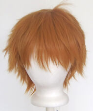 11'' Short Messy Spiky Bronze Brown Synthetic Cosplay Wig NEW