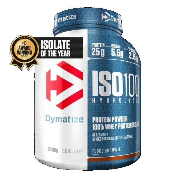 Dymatize Nutrition Iso 100 Whey Protein Powder Post Workout 2.27kg Fudge braunie