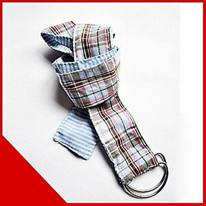 Boys-Kids-Children-Cotton-BLUE-Check-Sports-Casual-Pants-Buckle-Tie-Belt-strap