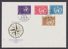 Switzerland Mi 10-13 (OMM/WMO)  FDC. 1973 World Meteorological Organization