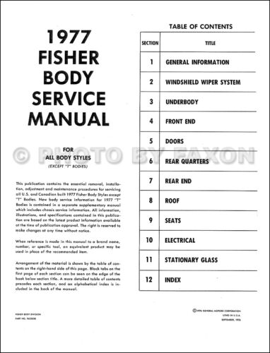 1977 Oldsmobile Body Shop Manual 88 98 442 S Supreme Cutlass Toronado Starfire