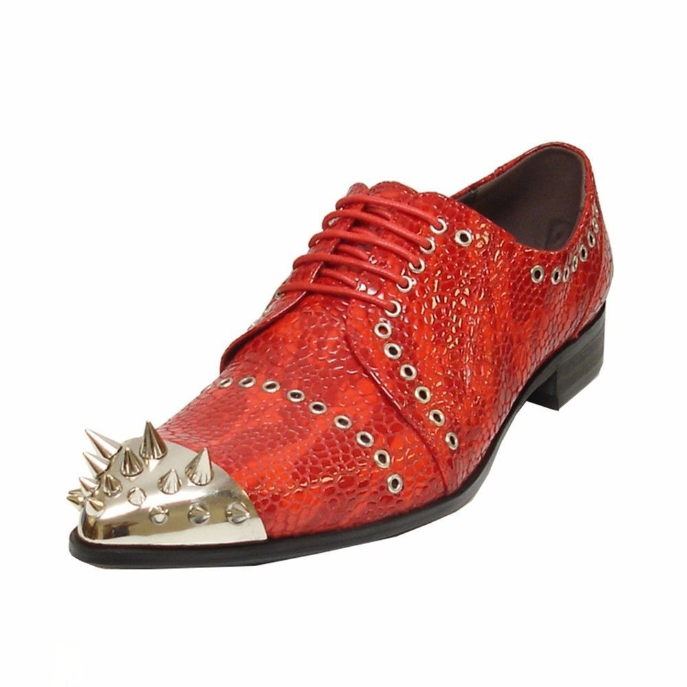 Fiesso Men Red Leather Fashion Lace Up Semi Brogues Spiked Metal Toe shoes