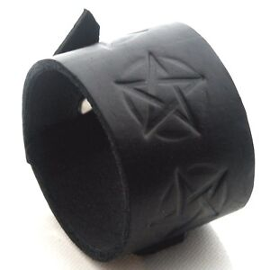 black Leather Cuff Wristband Bracelet-will fit small to large-Handmade in the UK