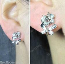 U CLIP ON crystal BUTTERFLY studs FAKE STUD EARRINGS silver rhinestone COMFY