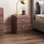 thumbnail 1 - Riano Bedside Cabinet Walnut 2 Drawer Metal Handles Runners Bedroom Furniture