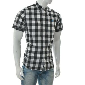 Fred-Perry-Men-039-s-Slim-Fit-Shirt-Short-Sleeve-White-Grey-Button-Down-L-Check