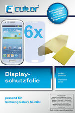 6x Samsung Galaxy S3 mini i8190 Schutzfolie klar Displayschutz Folie unsichtbar