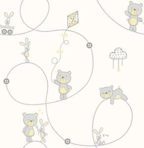 Teddy-Bear-Bunny-Nursery-Kids-Children-039-s-Wallpaper-Grey-Yellow-White-Carousel