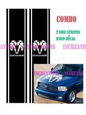 Set Of 3 Hemi Dodge Ram Skull Hood Stripe Truck Side Decals Stickers  Racing
