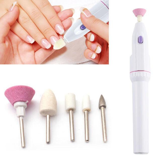 5 Bits Electric Nail File Drill Kit Tips Manicure Salon Pen Shape ...
