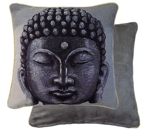 """FILLED BUDDHA TAPESTRY PIPED FAUX SUEDE 18/"""" 45CM CUSHION"""