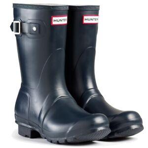 WAREHOUSE-SALE-Ladies-Short-Hunter-Wellies-Wellington-Boots-Navy-Blue-Size-6