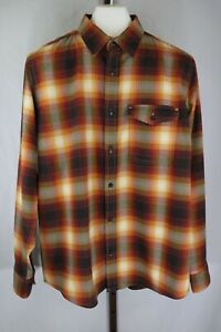 George-Mens-Brown-Plaid-Long-Sleeve-Button-Down-Flannel-Shirt-Size-L-42-44