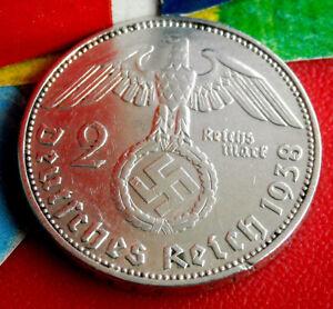XX-RARE 1938-E NAZI GERMAN SWASTIKA SILVER 2 ReichsMark COIN REAL 3rd-REICH WW2