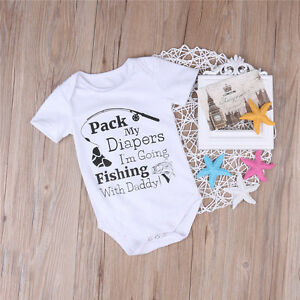 Newborn Baby Boy Girls Fishing Bodysuit Romper Jumpsuit